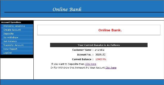 Online Bank Management System - Check Balance