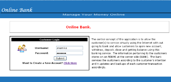 Online Bank Management System - Front page
