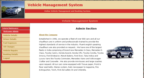 Vehicle Management System project in Java - TechZoo