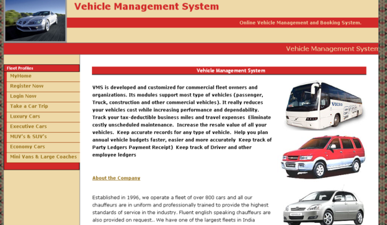 Vehicle Management - Home Page