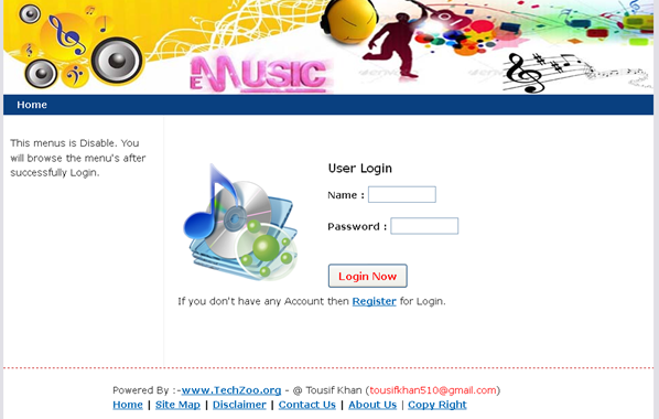 music library, login screen