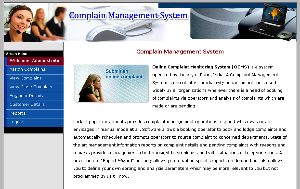 Online Complain Management System : PHP Project - TechZoo
