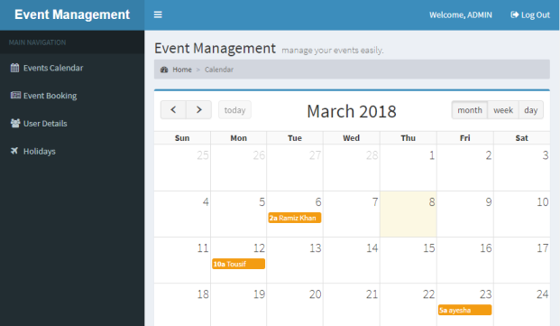 Event Management PHP project Free download - TechZoo
